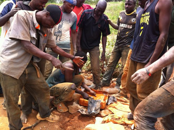 Young men seeking gold in the small Tanzanian mines.