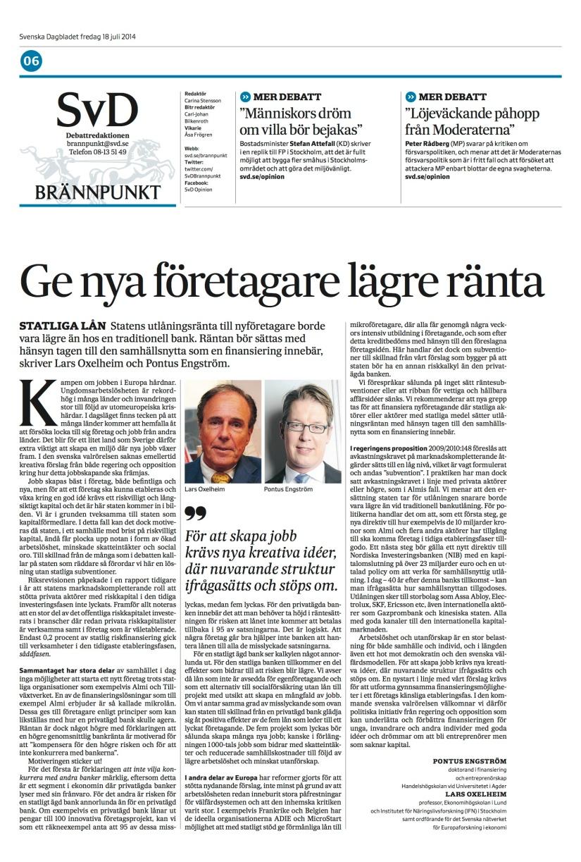 Nya grepp krävs för att främja företagande (publication in SvenskaDagbladet)
