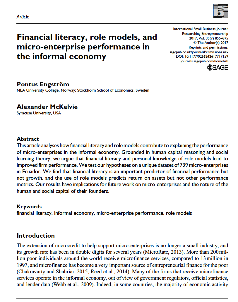 """Engstrom & McKelvie in International Small Business Journal (ISBJ), """"Financial literacy, role models, and micro-enterprise performance in the informaleconomy"""""""